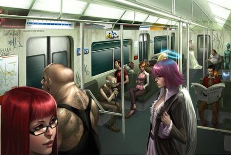 Фото Ангел в метро среди обычных людей (© Radieschen), добавлено: 25.04.2011 17:00