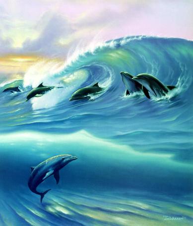Фото Дельфины резвятся в море (© Штушка), добавлено: 26.04.2011 23:08