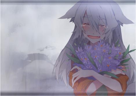 Плачущая девушка с цветком