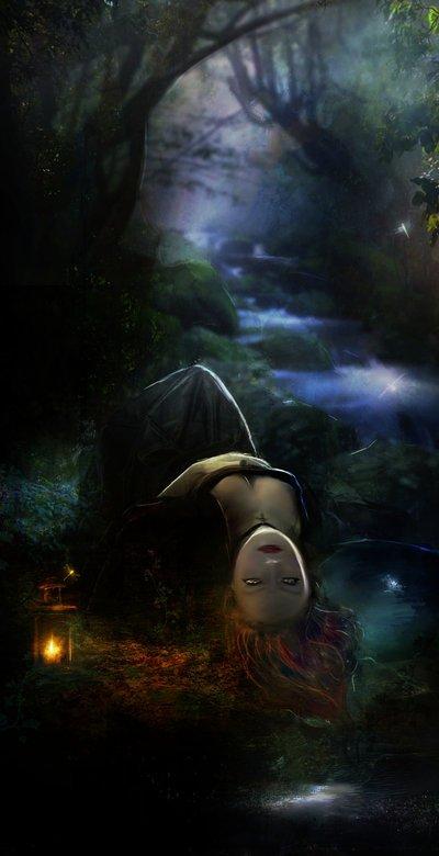 Фото Девушка в ночном лесу