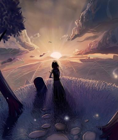Фото Невеста стоит у надгробия мужа и смотрит на восход солнца