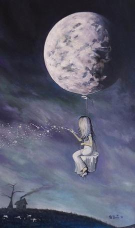 Фото Девочка летает на воздушном шарике