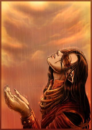 Фото Эльф подставил лицо и руки под струи дождя