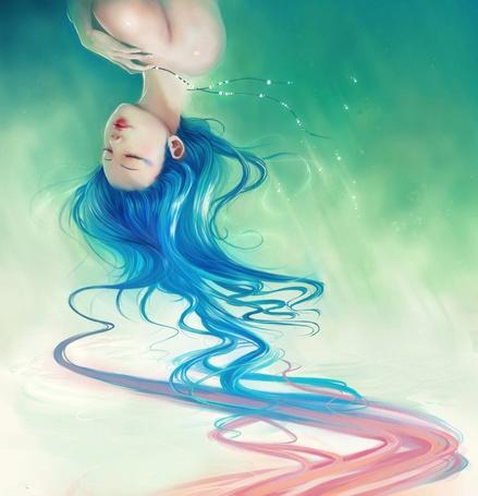 Фото Азиатка с синими волосами