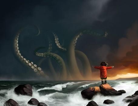 Фото Девочка смотрит на монстра в море