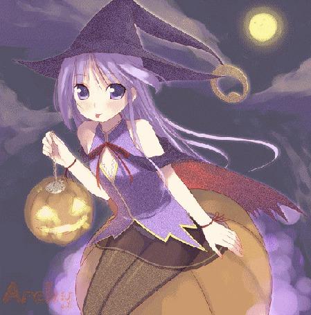 Фото Ведьмочка с тыквой