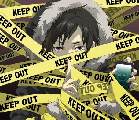 Фото Орихара Изая с телефоном из аниме Durarara (Keep Out) (© D.Phantom), добавлено: 18.05.2011 00:37
