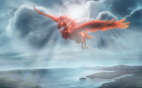 Фото Пегас летает над морем