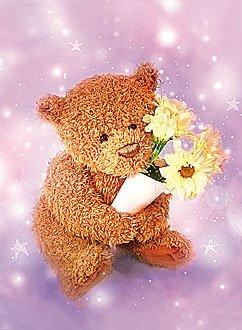 Фото Мишка с цветами