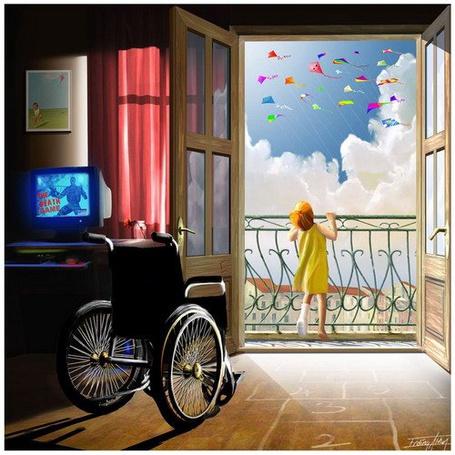 Фото Девочка встала с инвалидного кресла, что бы посмотреть на полёт воздушных змеев
