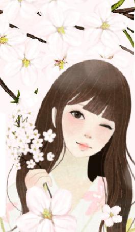 Фото Девушка с веткой вишни