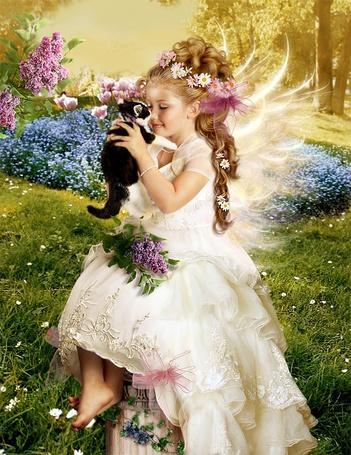 Фото Маленькая фея и котенок (© Krista Zarubin), добавлено: 06.06.2011 13:38