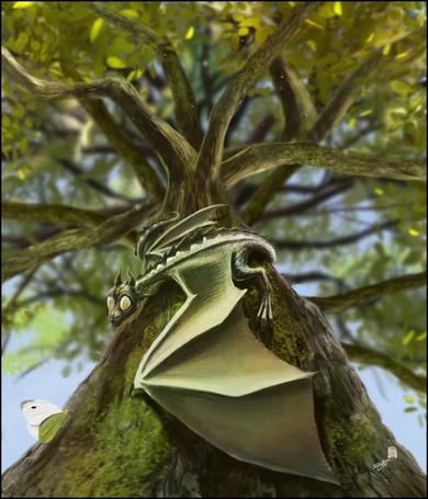 Фото Маленький дракончик сидит на ветке дерева