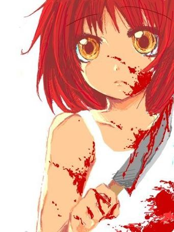 Фото Девочка измазанная кровью с большим ножом в руке