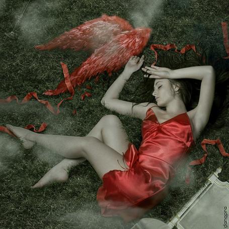 Фото Девушка в красном платье с оторванными крыльями (© Штушка), добавлено: 17.06.2011 16:47