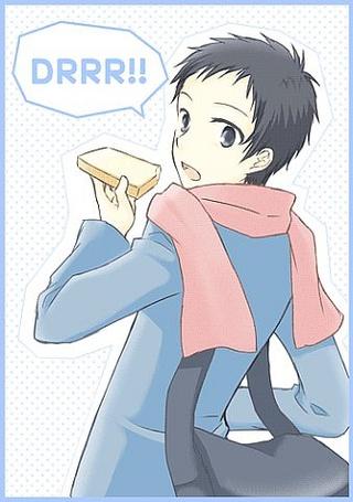 Фото микадо с хлебам в руке из аниме 'дюрарара' (Drrr!)еда (© Alice123), добавлено: 18.06.2011 11:09