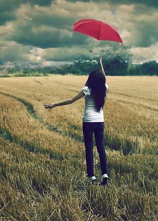 Фото Девушка с красным зонтом (© Штушка), добавлено: 22.06.2011 22:06