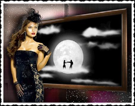 Фото Девушка у телевизора, где пара тунцует на  облаке при луне (© Volkodavsha), добавлено: 25.06.2011 11:26