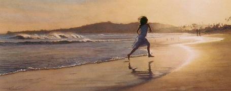 Фото Девочка бежит по пляжу (© Флориссия), добавлено: 26.06.2011 21:25