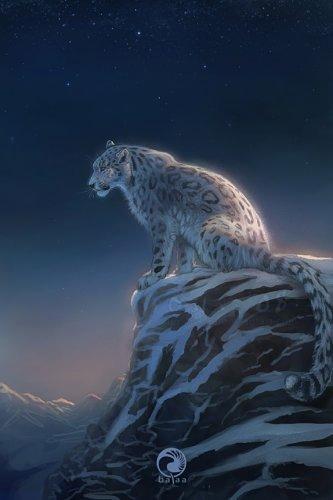 Фото снежный барс сидит на холме
