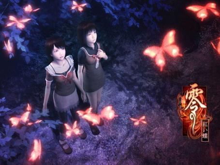 Фото Две азиатки смотрят на светящихся бабочек