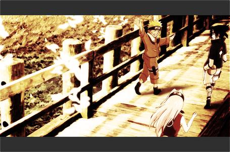 Фото Наруто, Саске и Сакура идут по мосту