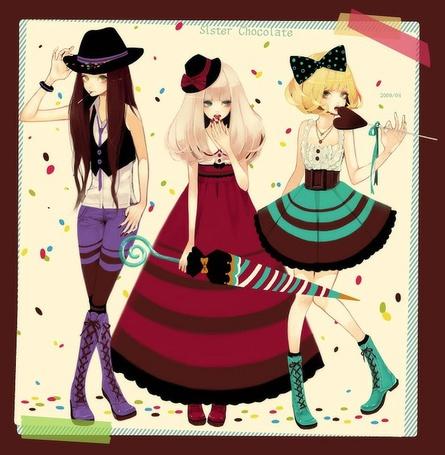 Фото Sister Chocolate - Девушка в шляпке, девушка в шляпке с зонтом и девушка в бантом на волосах