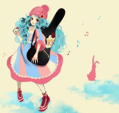 Фото Девушка в шапке с гитарой в чехле (© Юки-тян), добавлено: 06.07.2011 20:49