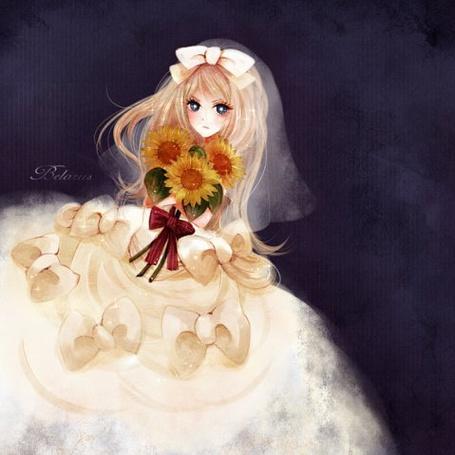 Фото Хеталия - Беларусь в свадебном платье с букетом из подсолнухов (© Юки-тян), добавлено: 10.07.2011 09:50