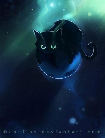 Фото Чёрный котёнок с зелёными глазами by apofiss (© Юки-тян), добавлено: 16.07.2011 18:26
