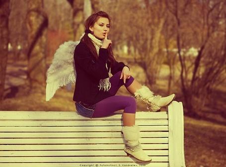 Фото Девушка с крылышками на спине сидит на лавочке (© Шепот_дождя), добавлено: 31.07.2011 19:42
