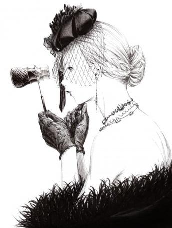 Фото Девушка в шляпке с вуалью держит театральный бинокль, art by Sawasawa (© Krista Zarubin), добавлено: 31.07.2011 21:50