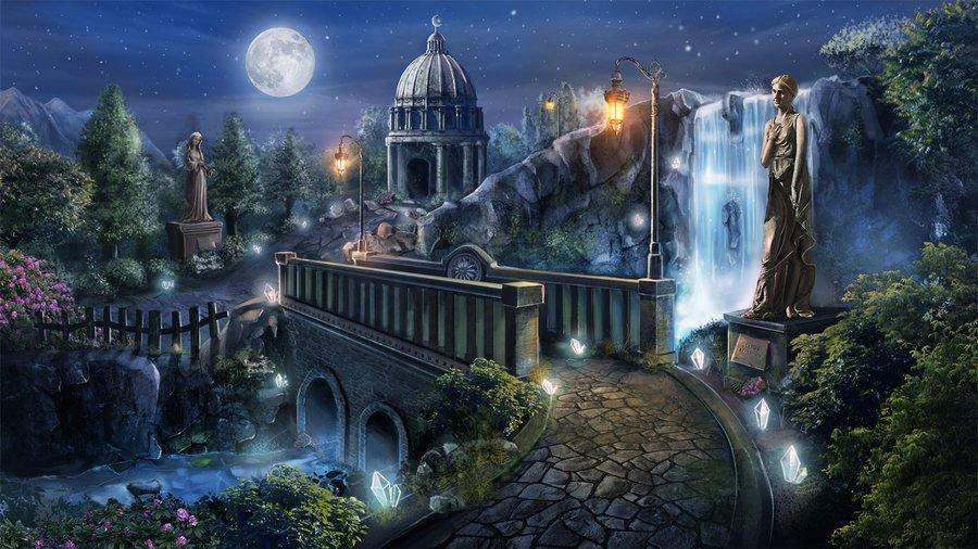 Фото сказочный город с водопадами и