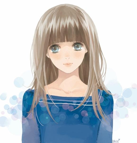 аниме девушки с синими глазами: