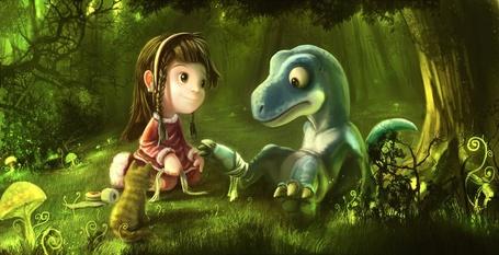 Фото Девочка перевязывает раненную лапку  детенышу дракона (© Anatol), добавлено: 01.08.2011 00:33