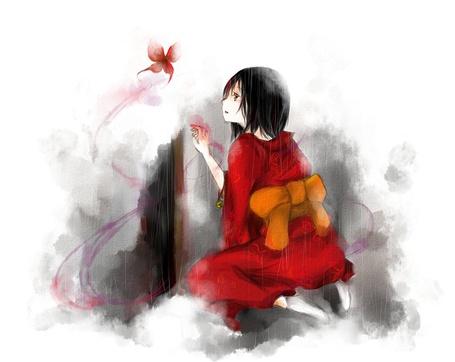 Фото Девочка в кимоно сидит на коленках смотрит на красную бабочку вылетевшую из-за приоткрытой двери (© D.Phantom), добавлено: 04.08.2011 04:41