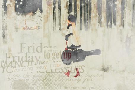 Фото Девушка с гитарой в футляре идёт по заснеженному лесу (© D.Phantom), добавлено: 07.08.2011 01:28