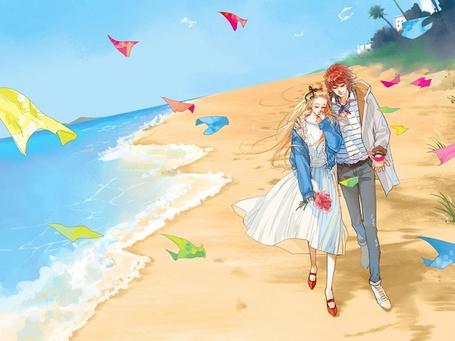 Фото Парочка гуляет по морскому пляжу (© Юки-тян), добавлено: 09.08.2011 10:16