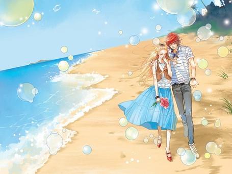 Фото Парочка гуляет по морскому пляжу (© Юки-тян), добавлено: 09.08.2011 22:49