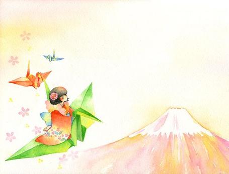 Фото Девушка на бумажном журавлике летит к вулкану (© Юки-тян), добавлено: 11.08.2011 13:33