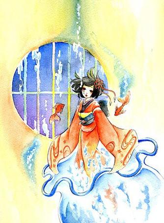 Фото Девушка возле круглого окна (© Юки-тян), добавлено: 11.08.2011 14:35