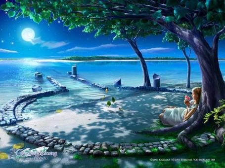 Фото Девушка сидит, облокотившись на дерево, и держит в руках цветок (Celestial exploring by kagaya)