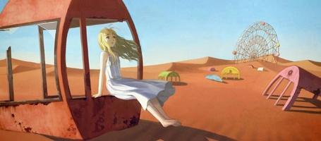 Фото Девушка сидит на кабинетке разваленноо колеса обозрения (© Юки-тян), добавлено: 15.08.2011 12:56