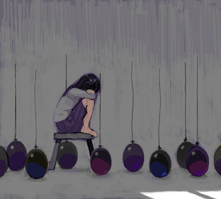 Фото Всё шарики упали. Девушка грустит, сидя на табуретке