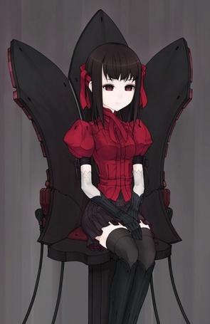 Фото Девушка сидит на большом чёрном стуле (© Юки-тян), добавлено: 15.08.2011 20:13
