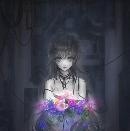 Фото Арт by Minevi (Девушка, подключенная к проводам, с цветами) (© Шепот_дождя), добавлено: 18.08.2011 23:36