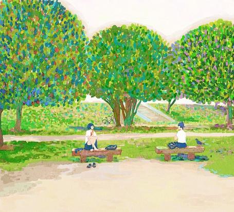 Фото Девушки сидят на скамейках в парке с яркими деревьями (© Юки-тян), добавлено: 19.08.2011 11:46