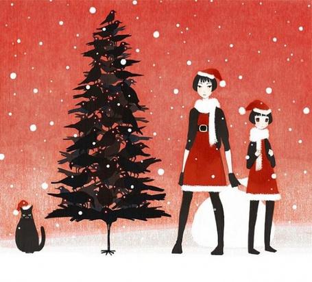 Фото Девушки в новогодних костюмах возле ели (© Юки-тян), добавлено: 19.08.2011 11:51