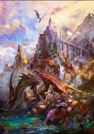 Фото Волшебница беседует с драконом у стен древнего замка