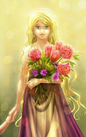 Фото Девушка с букетом цветов (© Anatol), добавлено: 27.08.2011 00:53